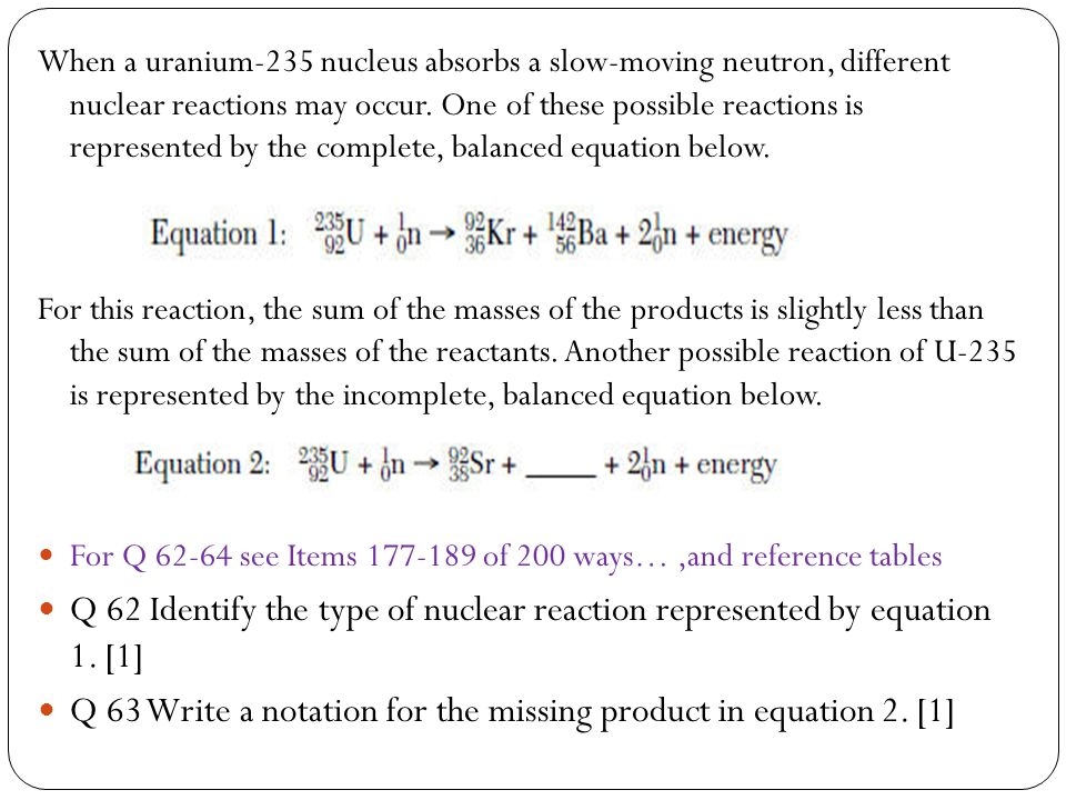 Q 63 Write a notation for the missing product in equation 2. [1]